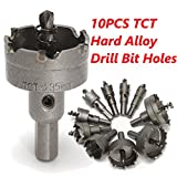 DRILLPRO 10 Pcs Drill Bit Hole Carbide Tip TCT Saw Set Stainless Steel Metal Alloy 16-53mm
