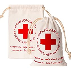 "Crisky Recovery Kit Bags for Bachelorette Party Decorations, Bridesmaid Gifts Wedding Survival Kit, Hangover Kit Bags""Red Cross"" 10 pcs, 4""x6"", 100% Cotton"