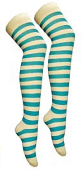 Referee Socks Ladies Over the Knee OTK Blue Green Red Yellow Sports Active Gym