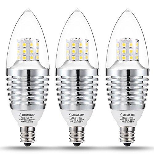 LOHAS Candelabra LED Bulbs, 7W LED Light, 65W-70W Incandescent Equivalent, Candelabra Base E12, Soft White LED 3000K, 120V, 680 Lumen Lamps for Home Lighting (3 Pack) - 9w Candelabra