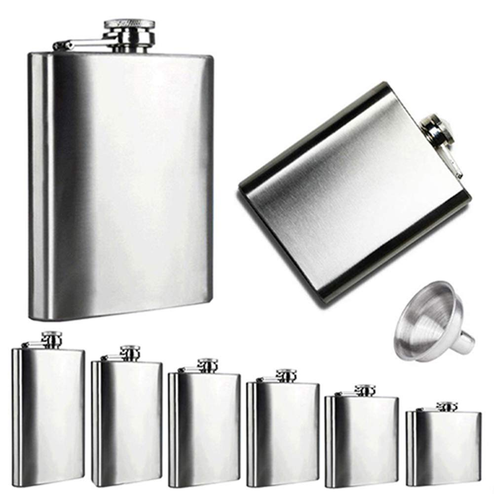 Braceus 4 5 6 7 8 10 oz Stainless Steel Vodka Whiskey Alcohol Hip Flask Cap Funnel 7oz