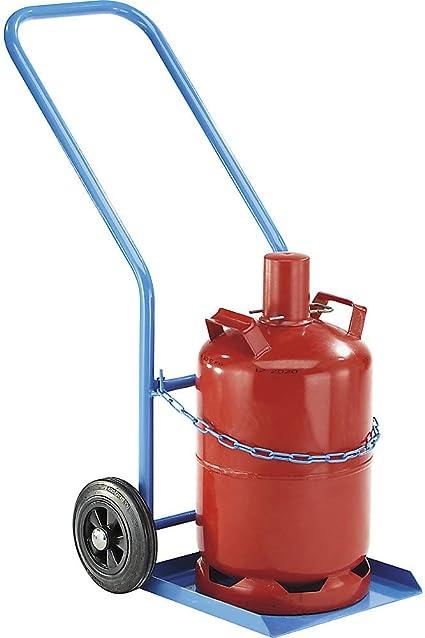 EUROKRAFT Diable pour 1 bouteille en acier pour 1 bouteille de /Ø 285 mm peinture /époxy RAL 5012 Chariot porte-bouteilles Chariots porte-bouteilles Diable Diable porte-bouteilles Diables Diables po force 150 kg avec roue stabilisatrice