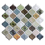 #3: Peel and Stick Tile Backsplash for Kitchen Bathroom,Green Arabesque Tile Backsplash,Mosaic Backsplash Sticker,5 Sheets