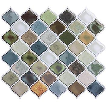 FAM STICKTILES Peel and Stick Wall Tile for Kitchen Backsplash-Mist Color Arabesque Tile Backsplash-Kitchen Backsplash Tiles Peel and Stick Wall Stickers 11'' x 10'' 6 Sheets