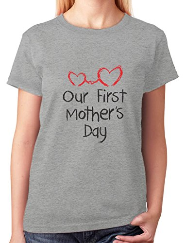 TeeStars - Our First Mothers Day - Mom and Baby Cutest Gift Idea Women T-Shirt Medium Gray