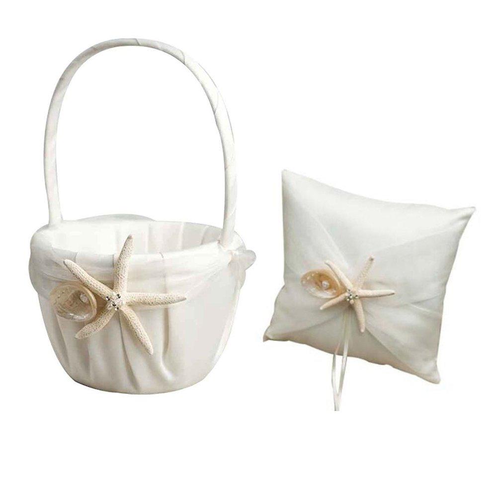 Wedding Flower Basket Ring Pillow Sets, Beach Theme Stafish Seashell Design Wedding Girls Flower Basket Ring Pillow, Wedding Romantic Flower Girl Baskets + Ring Pillow for Wedding Ceremony Party Favor by WElinks