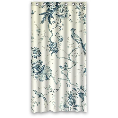 Custom Waterproof Polyester Bathroom Fabric Shower Curtain Decor Birds and Flowers Toile Design Print 48x72 in