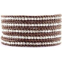 Chan Luu Sterling Silver Wrap Bracelet on Brown Leather