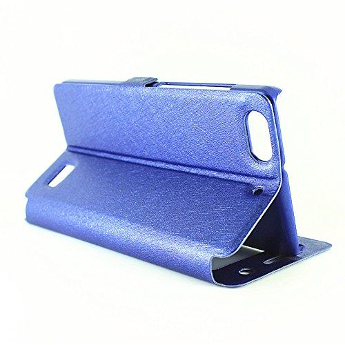 YAJIE-Carcasa Funda Para Huawei Honor 4C, color sólido PU cuero con soporte doble ventana abierta caso de patrón de seda (responder o rechazar llamadas sin abrir la tapa) ( Color : Rose ) Blue
