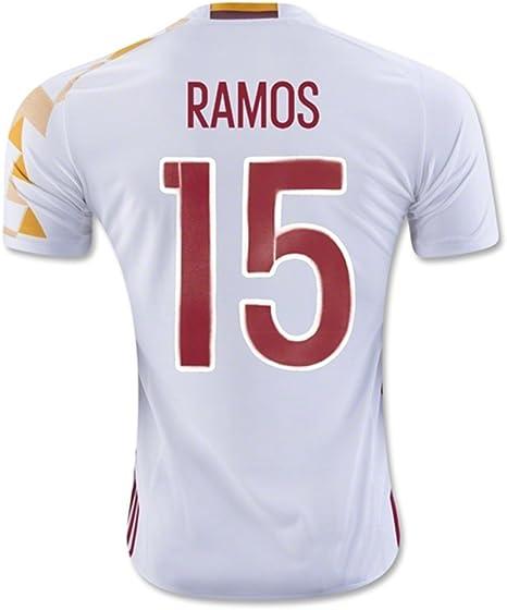 2016 2017 Copa de la UEFA EURO España 15 Sergio Ramos de distancia de fútbol jersey en color blanco, hombre, blanco, medium: Amazon.es: Ropa y accesorios