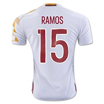 9728f8eb4 2016 2017 UEFA Euro Cup Spain 15 Sergio Ramos Away Football Soccer Jersey  In White  Amazon.co.uk  Clothing