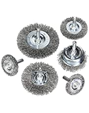 6Piece Wire Wheel Cup Brush Set Coarse Crimped Carbon Steel 1/4In Round Shank for Drill by ALLmuis