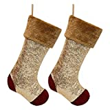 Valery Madelyn 2 Pcs 21'' Luxury Red and Gold Sequins Velvet Christmas Stockings with Faux Fur Trim Border, Themed with Tree Skirt (Not Included)