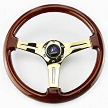 """LR Universal 14"""" steering wheel with horn, 6 bolts 1.75"""" Dish, Gold Chrome Spoke (Wood)"""