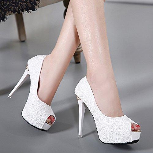 signore sandali 39 e GTVERNH i di pesce bocca super i summer pizzi scarpe impermeabilizzare a white tacchi tacchi 5nanwSACqx