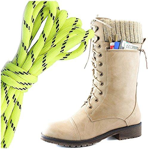 Dailyshoes Womens Combat Stijl Lace Up Enkel Bootie Ronde Neus Militaire Knit Creditcard Mes Geld Portemonnee Pocket Laarzen, Neon Geel Zwart Beige Pu