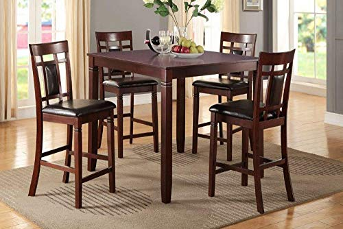Poundex F2252 Giacomina 5-Pc Cherry Cashew Wood Counter Height Set by, Brown