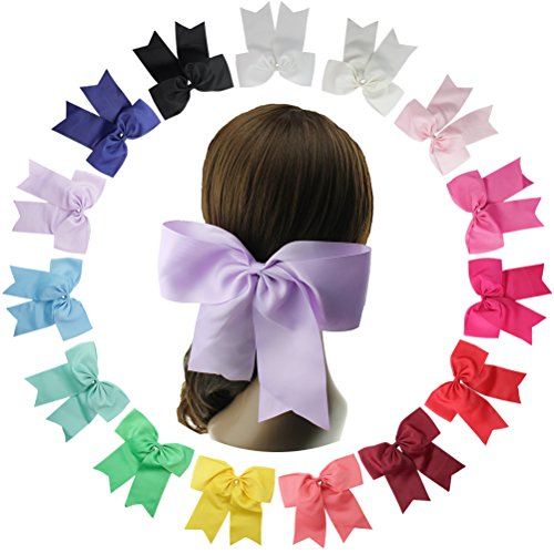 [15pcs Baby Girl Large Ribbon Hair Bows Clips Accessories for Toddlers Kids Women (Hair Clips Alligator 8] (Cheerleader Outfit For Girls)