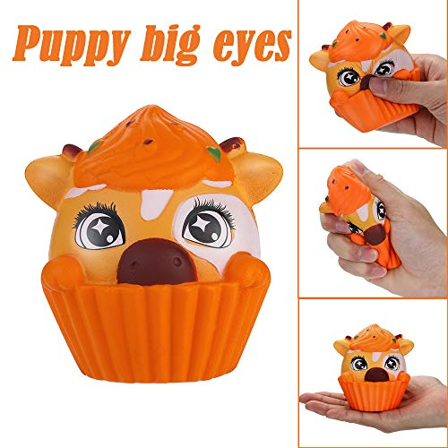 Stress Reliever Toys Soft Cute Elastic Puppy Big Eyes Squeeze Cream Scented Slow Rising Decompression Toys fit Collection Gift, Decorative Props (Orange) -