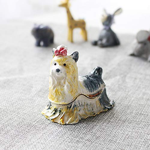 YU FENG Hand Painted Trinket Jewelry Holder Box with Elegant Crystals   Dog Shaped Decorative Figurine Jewelry Holder for Living Room   Creativity Trinket Box ()