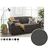 MAYTEX Pixel Ultra Soft Stretch 2 Piece Sofa Furniture Cover Slipcover, Charcoal Grey