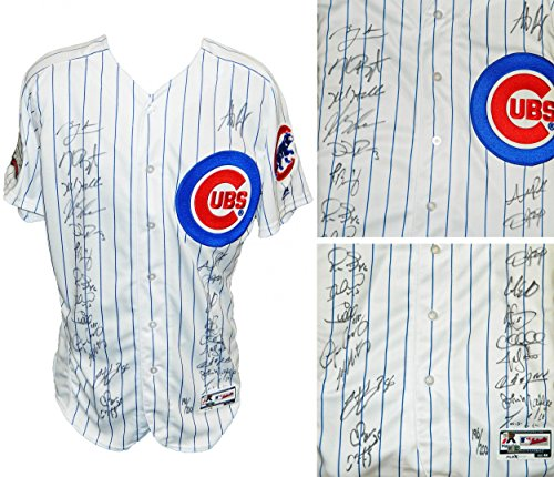 2016 Chicago Cubs Team Signed Chicago Cubs White Pinstripe Majestic Authentic Jersey w/2016 WS Patch (24 Sigs)