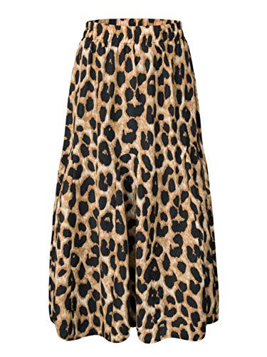 CHOiES record your inspired fashion Women's Leopard Print Long Skirts Elastic High Waisted Bohemian Maxi Skirt S Brown