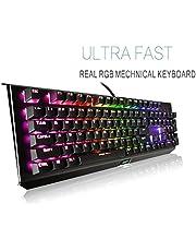 Mechanical Gaming Keyboard-Backlit Wired Gaming Keyboard-104 Keys Preset Customizable Lighting Effects PC Mac Gamers-Pro Gamers …