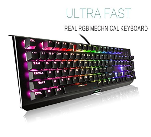 (Mechanical Gaming Keyboard,Backlit Wired RGB Gaming Keyboard,104-Keys with 25 Preset and Customizable Lighting Effects for PC and Mac Gamers )