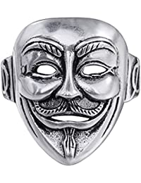 Unisex 925 Silver Plated Punk V for vendetta Clown Mask Mens Halley Motor Open Band Ring,Adjustable