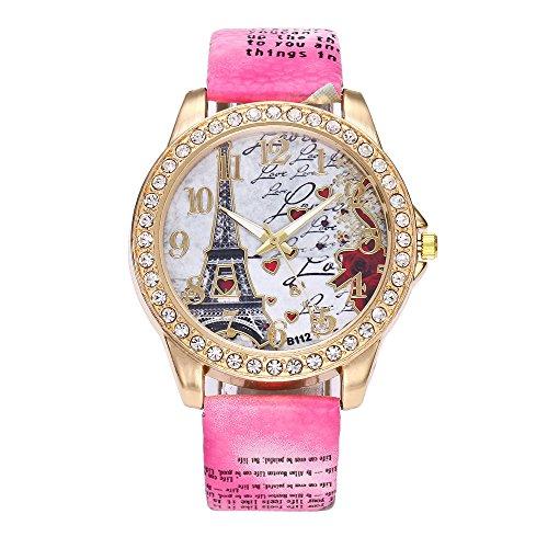 Vintage Paris Eiffel Tower Women Watch Fashion Watch Crystal Leather Quartz Wristwatch,Outsta Birthday Lover Gift Spring Deals!Hot (Hot -