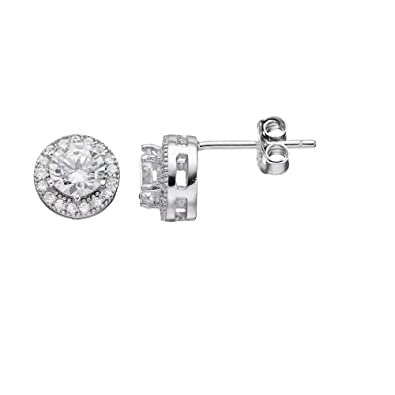 6c37ce4ef Image Unavailable. Image not available for. Color: Primrose Cubic Zirconia  Halo Earrings
