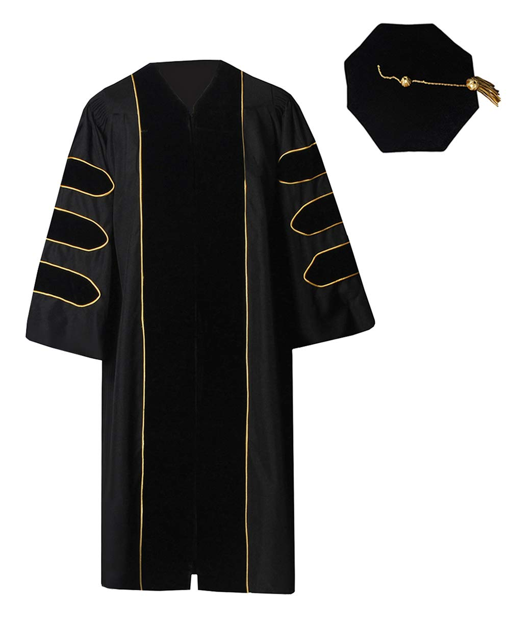 GraduationForYou Deluxe Doctoral Gown and 8-Sided Tam Set Black