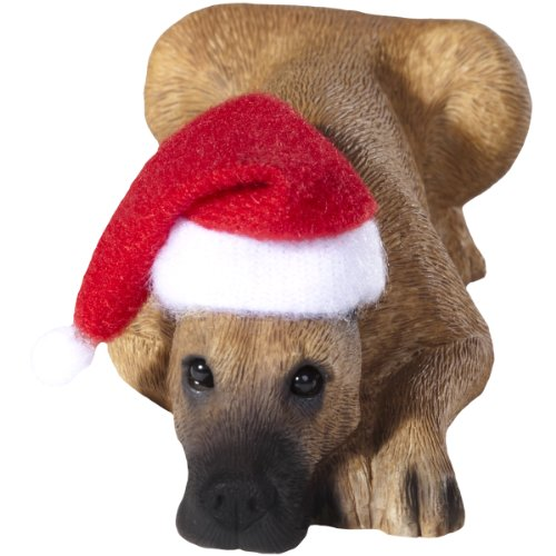 Sandicast Fawn Great Dane with Santa Hat Christmas Ornament ()