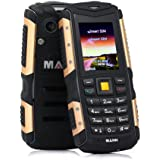 ECOOPRO Rugged Unlocked GSM Cell Phone (Gold) - Dual SIM Mobile Device - Shockproof, Waterproof, Dustproof - Rear Camera, Flashlight, USB Charger - 2-Week Battery Life Gold