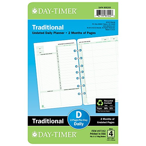 Day-Timer Two Page Per Day Refill, 2 Months, Undated, Loose-Leaf, Desk Size, 5.5 x 8.5 Inches (87242)