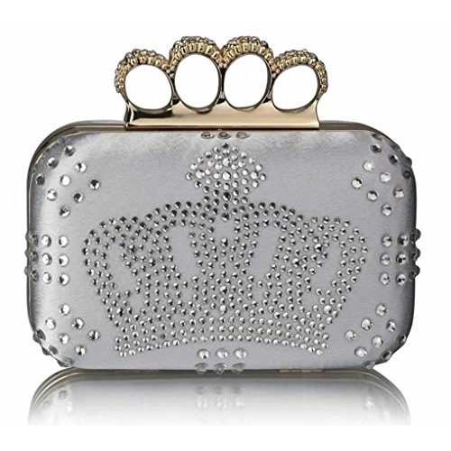 Silver Crown Jack Prom Clutch Bag Wedding Handbags Women's Purse Leahward Diamante Crown Evening For union studded qxAOZRIPw6