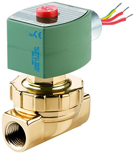 ASCO 8220G409-120/60,110/50 Brass Body Hot Water and Steam Pilot Operated Diaphragm and Piston Valve, 125 psi Maximum Steam Operating Pressure, 3/4'' Pipe Size, 2-Way Normally Closed, EPDM/PTFE Sealin by Asco