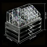 Berucci Clear Acrylic Jewelry Makeup Cosmetic Organizer Holder Storage - Two Piece Set with Three Bottom Drawers and Rectangular Top Design