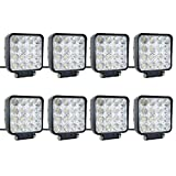 8 pcs one pack 48w 30 Degree LED flood Beam Lights Square Off-road bulb lamp light fog lighting exterior For Jeep Cabin/Boat/SUV/Truck/Car/ATV/Vehicles/automative/jeep/Marine (Color: Black, Tamaño: 8 Pcs-48W-F)