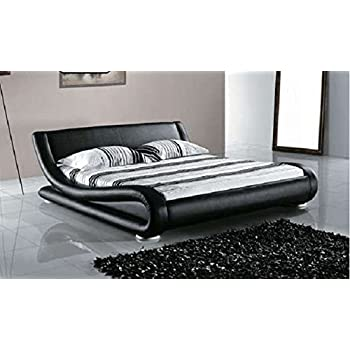 Amazon.com: Greatime Contemporary Upholstered Bed Black Queen ...