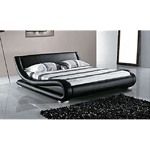 Greatime Contemporary Upholstered Bed Black Queen
