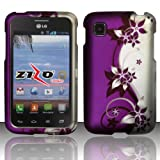 Thousand Eight(TM) For LG Optimus Dynamic II L39C - Rubberized cover case+ [FREE Touch Screen Stylus] (Design Purple/Silver Vines)