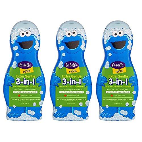 La Bella, 3 in 1 Ninos Shampoo Conditioner & Body Wash, 14 oz, Pack of (Belli Hair Body Wash)