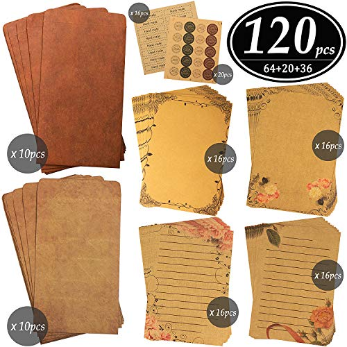 - CenterZ Vintage Stationary Paper + Kraft Envelopes Set with Seal Stickers (64pcs 4 Patterns 8.3 x 5.7 Writing Stationery Papers, 20pcs 2 Colors 7.9 x 4.7 Letter Envelope, 36pcs 2 Styles Rustic Seals)