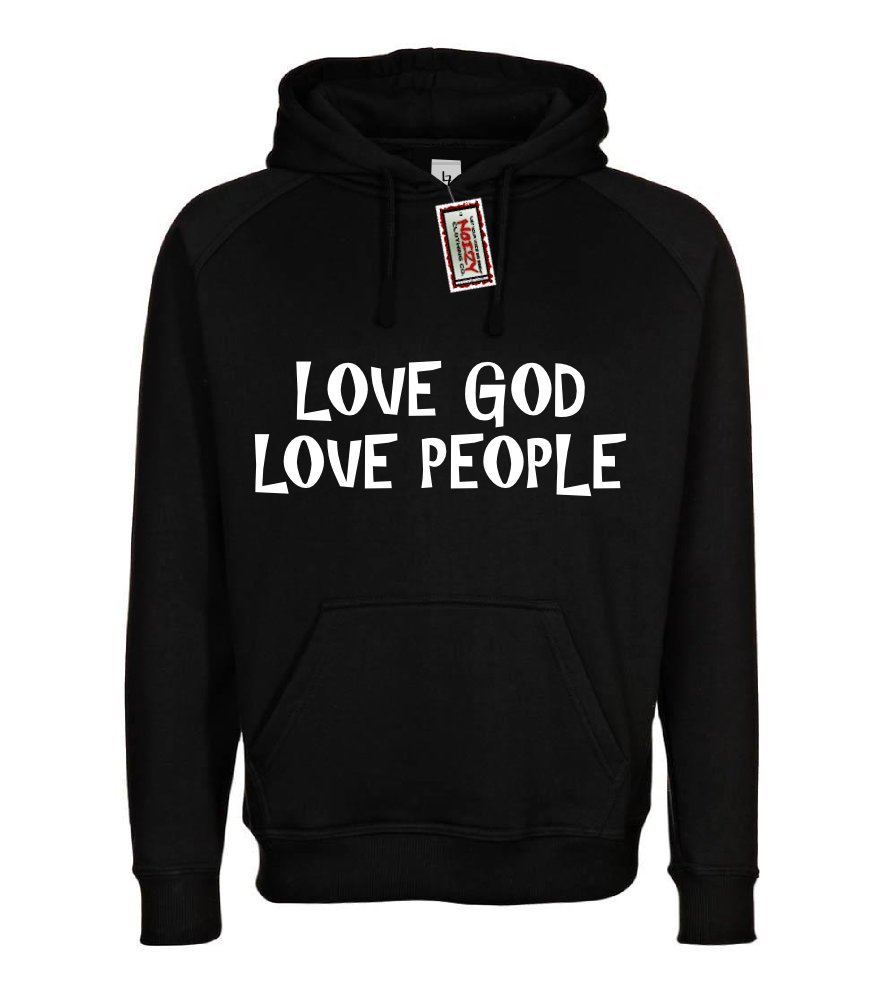 Love God Love People Christian Hoodie Black Medium Religious Sweatshirt M by Noizy Clothing Co. (Image #1)