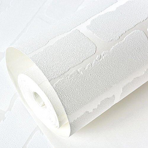 F&U Removable Peel And Stick 3D White Brick Wallpaper