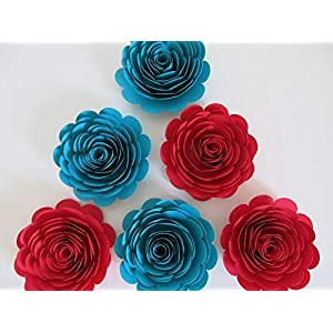 """Set of 6 Paper Flowers, Red and Dark Teal 3"""" Roses, Southwestern Home Decor, Red and Turquoise Blue, Wedding Decoration, Bridal Shower Decor, Always In Blossom 103"""