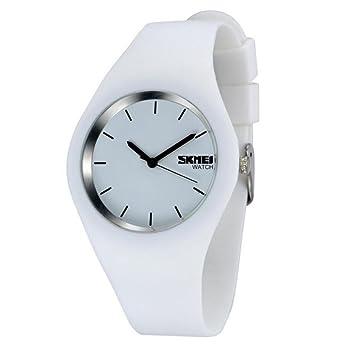 Reloj mujer Fashion Casual relojes de cuarzo correa de silicona deporte Lady relojes mujer niña vestido reloj de pulsera 9068, blanco: Amazon.es: Deportes y ...