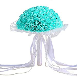 Artificial Silk Flowers,Napoo Ribbon Beaded Lace Crystal Roses Pearl for Bridesmaid Wedding Bouquet Bridal (F) 3